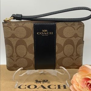 COACH Corner Zip Wristlet In Signature Canvas